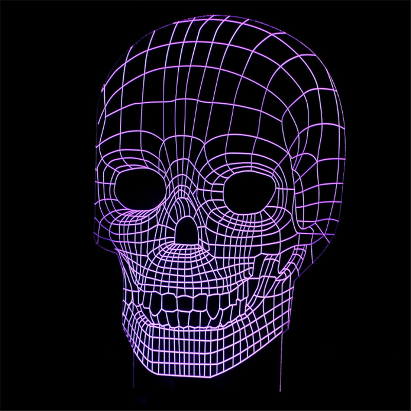 Halloween Decor Skull 3D Lamp LED Table Lamp Bedroom Illusion Desk Lamp USB RGB Night Light Multicolor Luminaria Kids Toy Gifts image