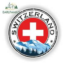 EARLFAMILY 13cm x 13cm For Switzerland Fine Decal Vinyl Car Wrap Car Accessories Scratch-Proof Sticker Suitable For VAN RV