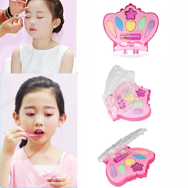 Crown Pretend Play Make Up Toys Makeup Set Princess Eyeshadow Lipstick Hairdressing Simulation Toy For Girls Dressing Cosmetic
