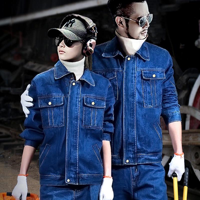 Cotton Denim Mens Coat Jeans Pants 2pcs Set Workwear Electric Welding Autumn Winter Thick  Jacket Trousers Anti-scalding Blue L4