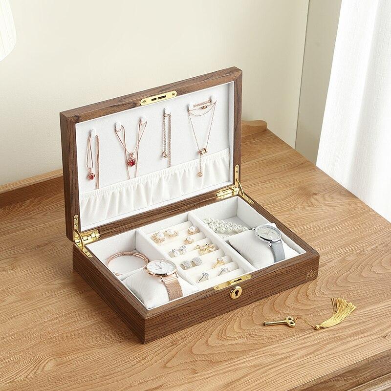 Casegrace Large Jewelry Box Casket Women Men Gift Wooden Necklace Ring Earring Watch Jewellery Organizer Display Storage Case
