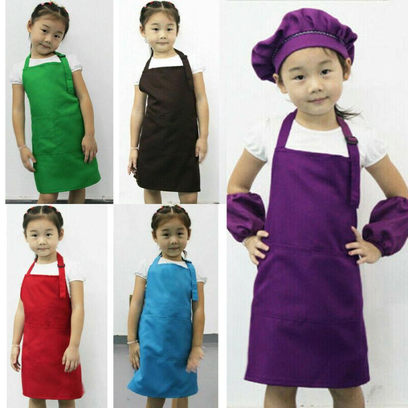 Cute Children Kids Plain Apron Kitchen Cooking Baking Painting Cooking Art Bibs Solid Children Housekeeping Toys