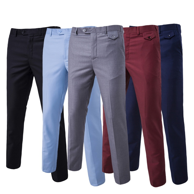 Puimentiua Pants Mens Trousers Business-Suit Wedding-Dress Solid-Color Cotton New Groom