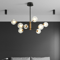 Glass Ball Chandelier For Dining room Bar Kitchen chandeliers interior lighting home Glass Black and gold chandelier lighting