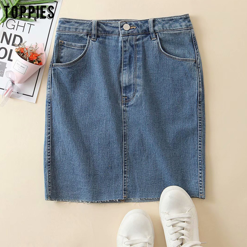 Toppies Summer Denim Mini Skirts Irregular Tassel Hem High Waist Skirts Womens Korean Fashion Streetwear