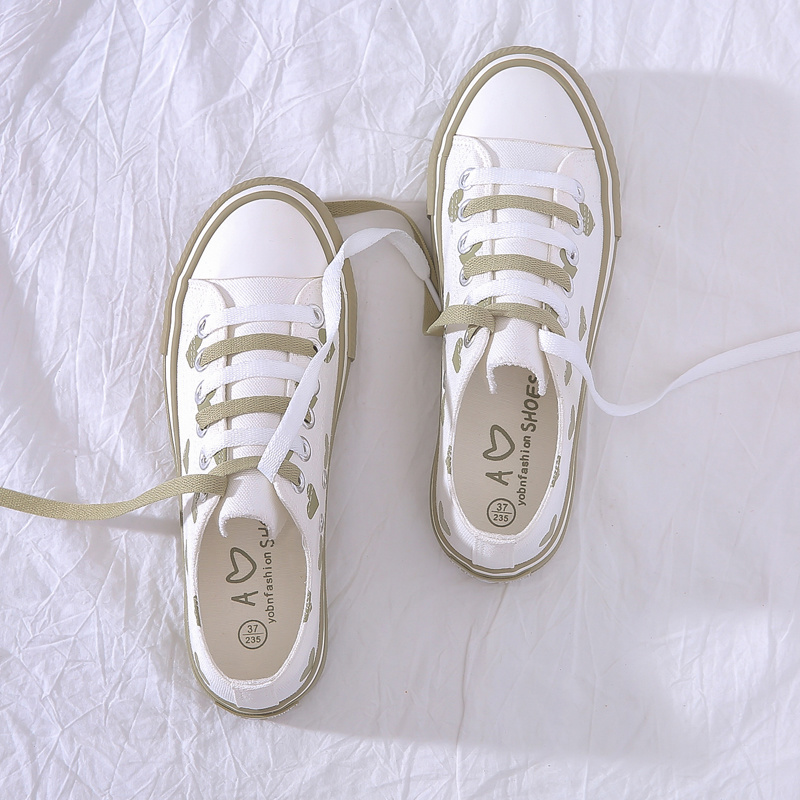 2019 Korean Women's Autumn White Shoes Flat Shoes Women's White Sneakers Vintage Canvas Shoes Canvas Large + 35-40 Size  N1-07