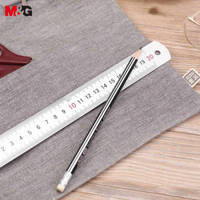 Escalas dobro 20cm 8 polegadas liga de alumínio metal régua m & g escritório régua escala aço estudante ruller escola suprimentos