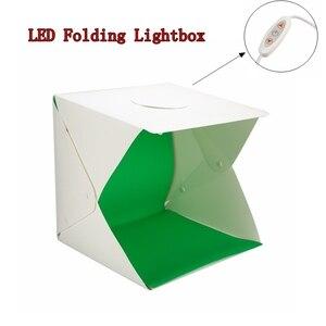 Image 2 - 2 LED מתקפל Lightbox 40cm נייד שולחן ירי Softbox צילום סטודיו תמונה Softbox מתכוונן בהירות אור תיבה