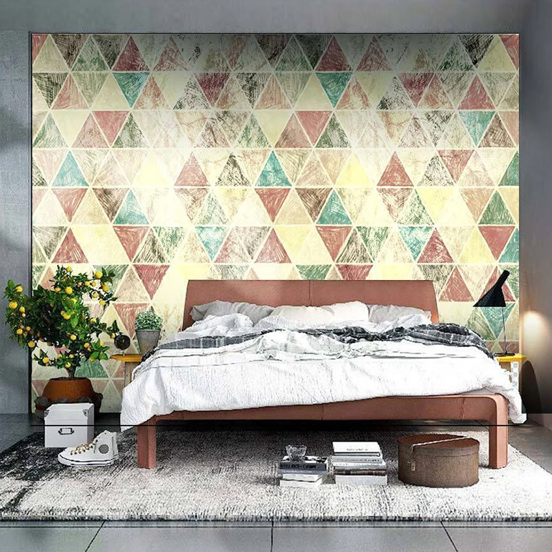 Custom Photo Mural Geometric Modern Abstract Retro Living Room TV Background Art Wall Painting Wallpapers For Bedroom Home Decor