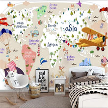 Nordic Children's Room Mural 3D Cartoon Animal Aircraft World Map Background Wallpaper for Kids Room 3D Wall Papers Home Decor(China)
