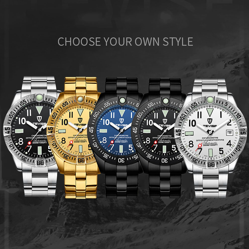 Tevise Automatic Mechanical Watches Men Self Wind Relogio Automatico Watches Montre Homme Male Waterproof Wristwatches Gift Box in Mechanical Watches from Watches