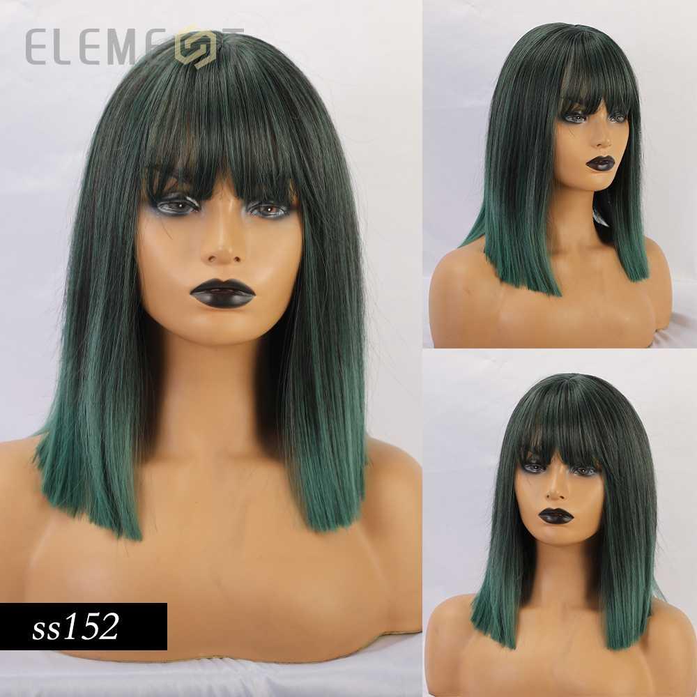 Element Medium Straight Bobo Synthetische Pruiken Cyaan-Blauw Groen Cosplay Pruiken Met Pony Voor Wit/Zwarte Vrouwen Meisjes lolita Leuke Pruiken