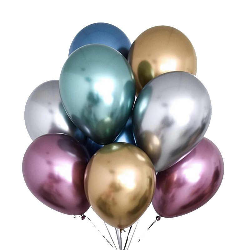 50/100 sztuk 12 cal błyszczące metalowe perłowe balony lateksowe gruby chrom kolory metaliczne nadmuchiwane piłki Globos dekoracje na przyjęcie urodzinowe