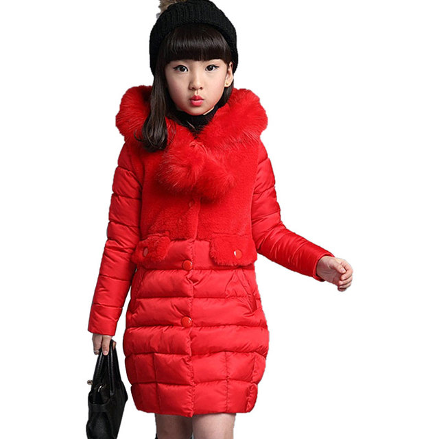 Girls Warm Artificial Fur Fashion Long Hooded Jacket