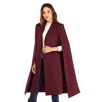 Women Blazer casual Long Cloak Coat High Quality Cape Black/armygreen/wine red Color Office Elegant lady cape High Street