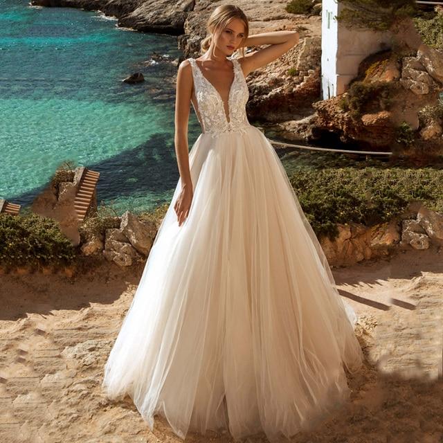Verngo A-line Wedding Dress Lace Appliques Boho Wedding Dress Backless Bride Dress 2020 Weeding Gowns vestidos de novia 2020 1