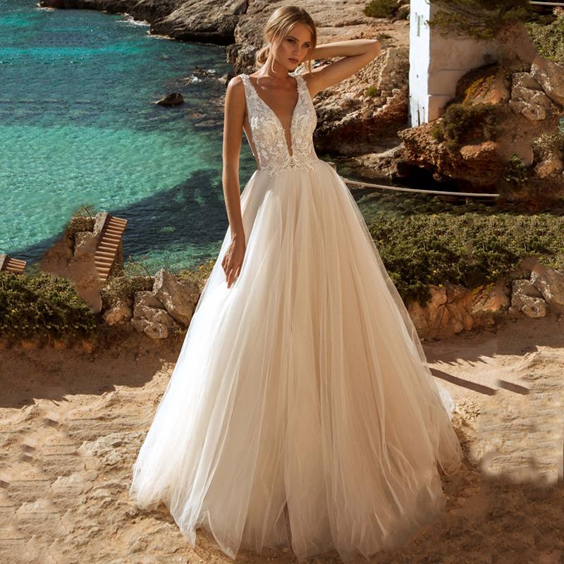 Verngo A line Wedding Dress Lace Appliques Boho Wedding Dress Backless Bride Dress 2020 Weeding Gowns vestidos de novia 2020