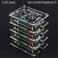 Raspberry Pi 4 5 6 7 8 9 schichten Acryl Fall Halter Box + Lüfter mit Metall Abdeckung für raspberry Pi 4 /3 Modell B +/3B