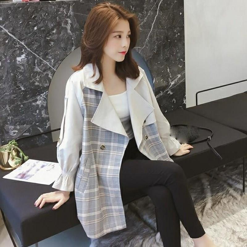 Autumn Women Casual Plaid   Trench   Coat Korea Lapel Patchwork Outwear Turn-Down Collar Sash Single Breasted Lace Up Windbreaker