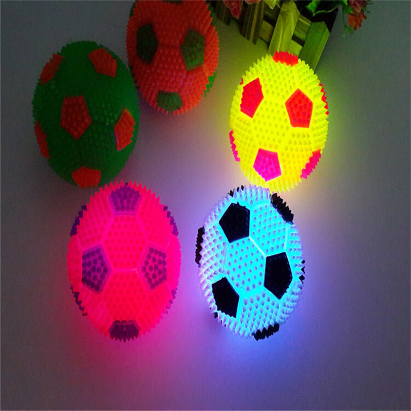 6.5cm Led Football Bouncy Ball Glowing Soccer  Flash Massage Ball For Kid Toy Christmas Birthday Gifts Fans Club Decoration