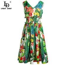 LD LINDA DELLA Bohemian Summer Holiday Dress Women V-Neck Sl
