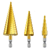 3pcs HSS Titanium Step Drill Bits Cone Cutting Tools Steel Woodworking Wood Metal Drilling Set сверло сверла(China)
