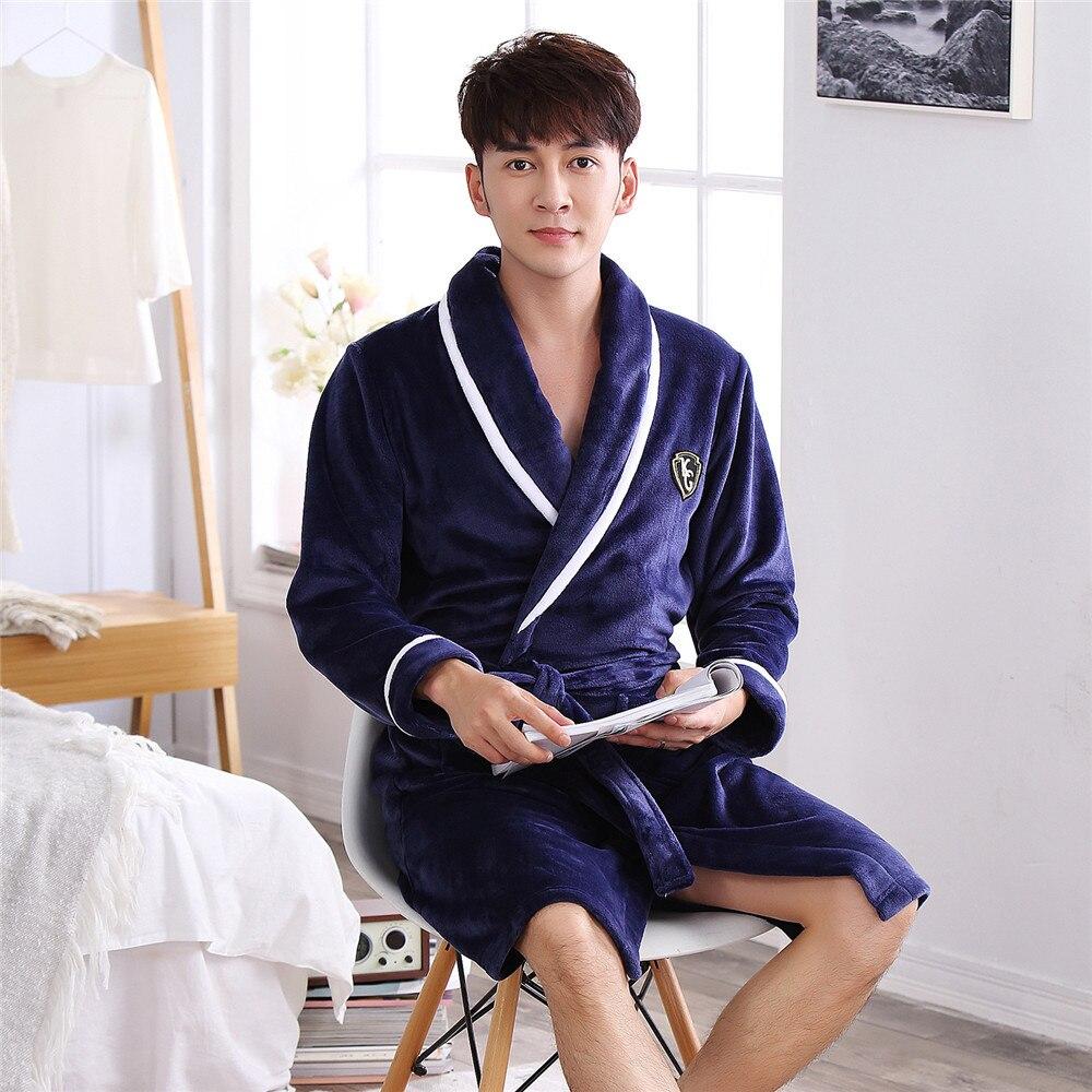 Men Ultra Thicken Sleepwear Kimono Gown V-neck Padded Coral Fleece Robe Full Sleeve Home Clothing Pajamas Warm Winter Nightgown