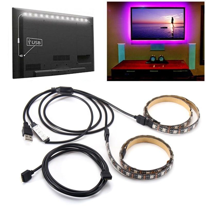 2PCS RGB USB 50cm 5V LED Strip 5050 Dustproof Waterproof Tape Light Bar TV Background Party Lighting Kit DIY Decorative Lamp