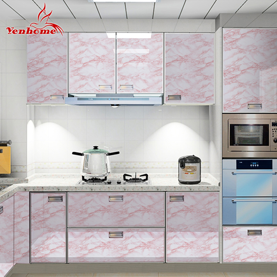 Thicken Waterproof Marble Pattern Wall Sticker Kitchen Damp-proof Wallpaper For Cabinet Bookshelf Renovation Self-adhesive Decal