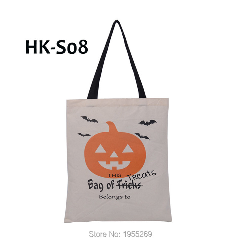 Image 3 - 21pcs/lot 5 Types Halloween Gift Bag Sacks Canvas Cotton Tote Bags with Handles Children Candy Large Bag Party Pumpkin New Year-in Stockings & Gift Holders from Home & Garden