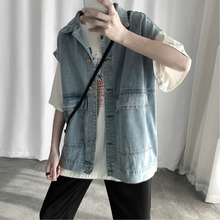 купить Autumn Denim Vest Men Fashion Washed Solid Color Casual Denim Vest Jacket Man Streetwear Hip Hop Denim Gilet Bomber Jacket Men по цене 1475.22 рублей