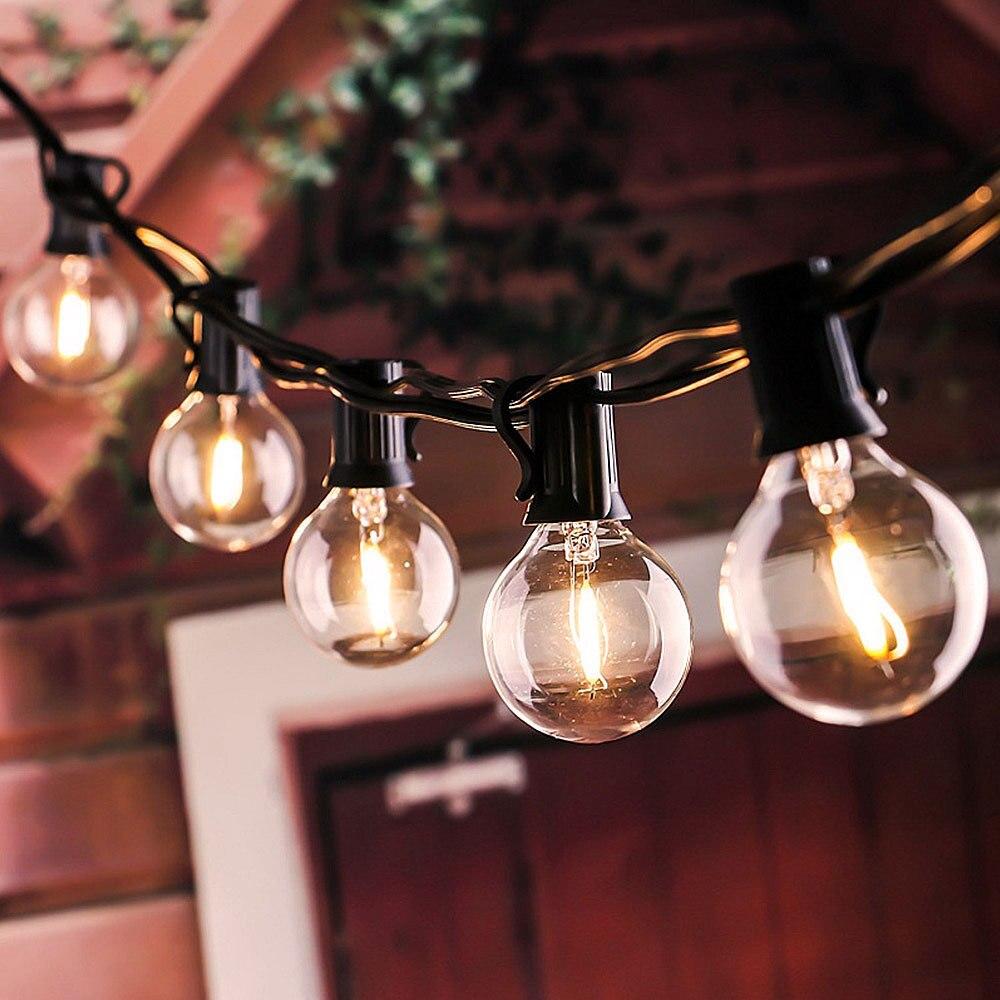LTOON G40 Bulb Solar String Light With Transparent Bulb Backyard Terrace Lighting Holiday Decorative Lights Outdoor Lighting