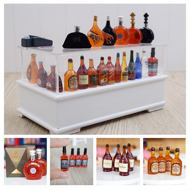 New 1:12 dollhouse miniature 2 pcs Mini Whisky Wine Drink Food toy match for bly