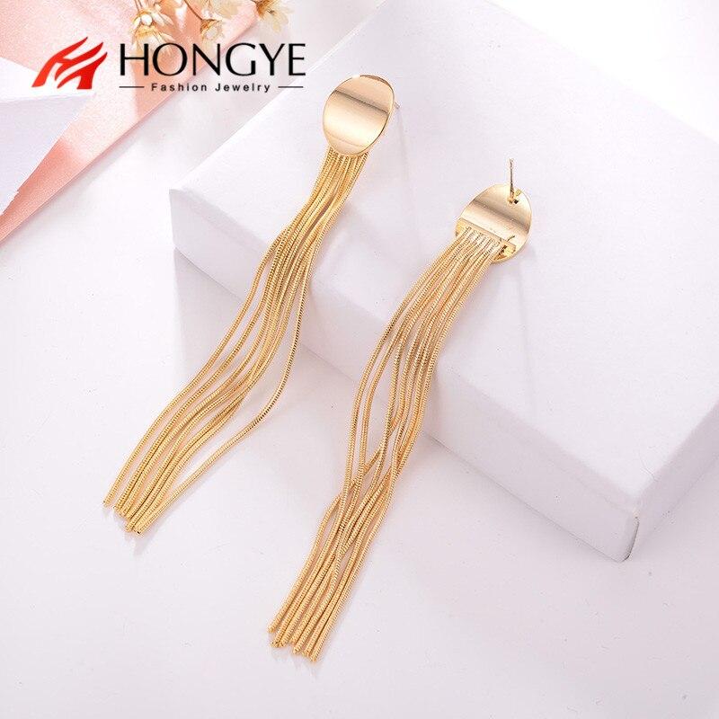 Длинные серьги HONGYE, модные ювелирные изделия, Дубайский сплав, простой дизайн, серьги с кисточками для женщин, серьги-подвески 2020