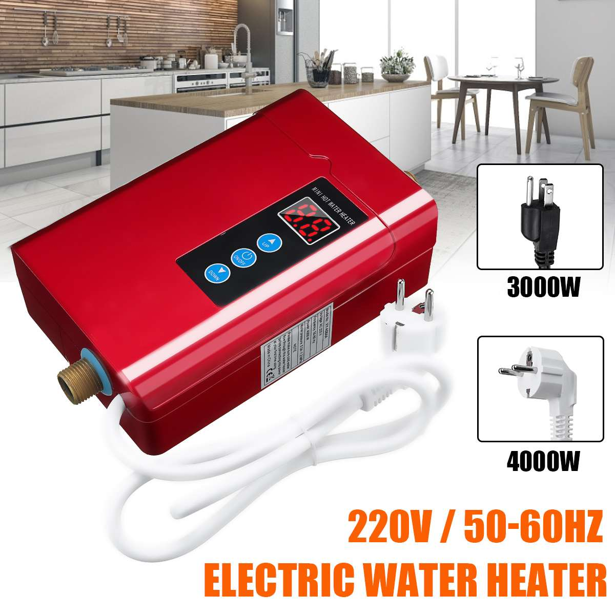 4000W Electric Water Heater Instant Tankless Gear 220V 4KW Temperature Display Fast Heating Bathroom Shower Kichen