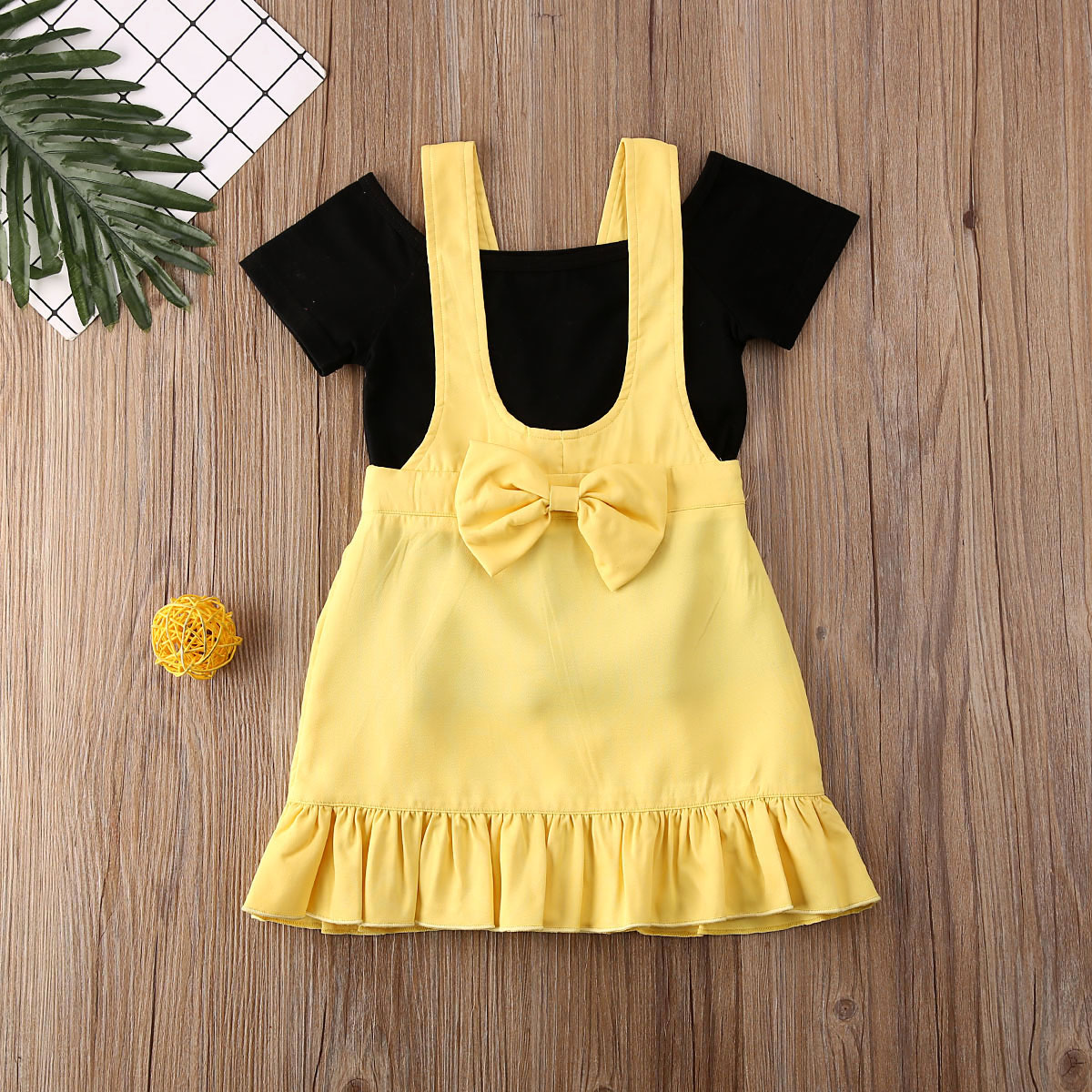 Pudcoco Toddler Baby Girl Clothes Solid Color Off Shoulder Short Sleeve Tops Strap Bowknot Dress 2Pcs Outfits Casual Clothes