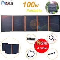100w 18v flexibele opvouwbare Zonnepaneel Kits Draagbare Oplader Waterdichte USB voor 5v apparaat Telefoon 12v batterij RV auto camping thuis