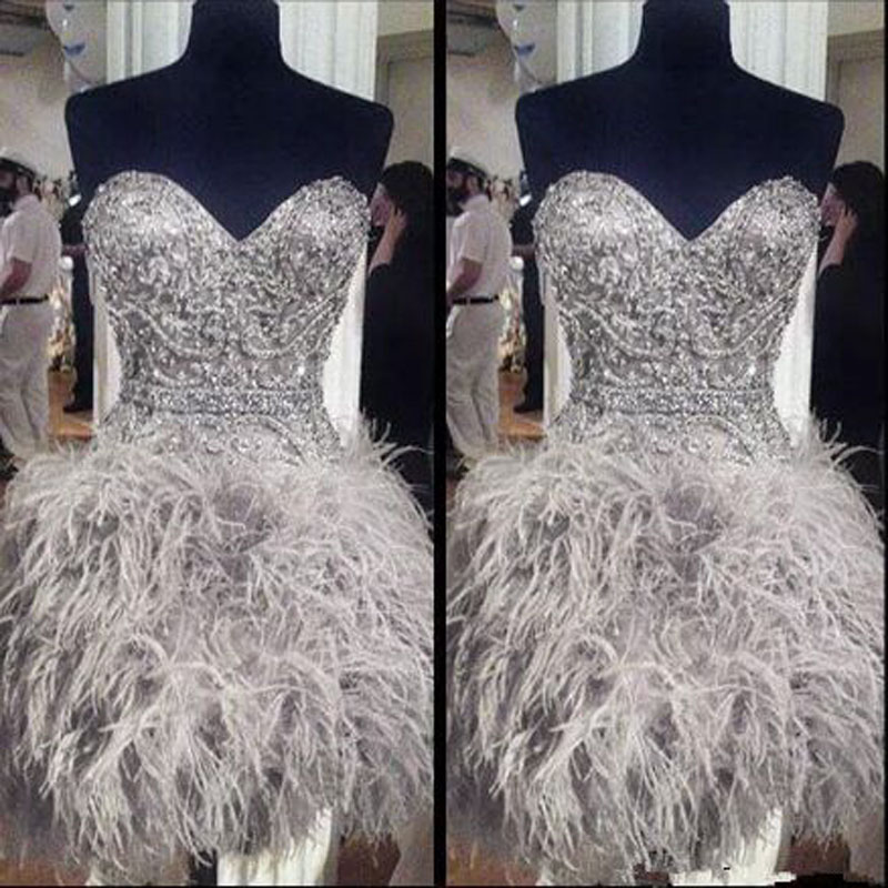 Luxury Beading Crystal Feather Straight Cocktail Dresses Simple Sleeveless Sweetheart Neck Mini Party Gown коктейльное платье