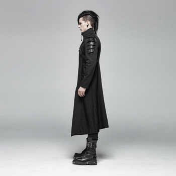 PUNK RAVE Gothic Men\'s Black Armor Mid-length Jackets Coat Steampunk Military Men Coat Stage Performance Costumes Visual Kei