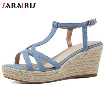 SARAIRIS Platform Buckle Strap Genuine Leather Sandals Women Wedges Fashion Sandals Ladies Summer Shoes