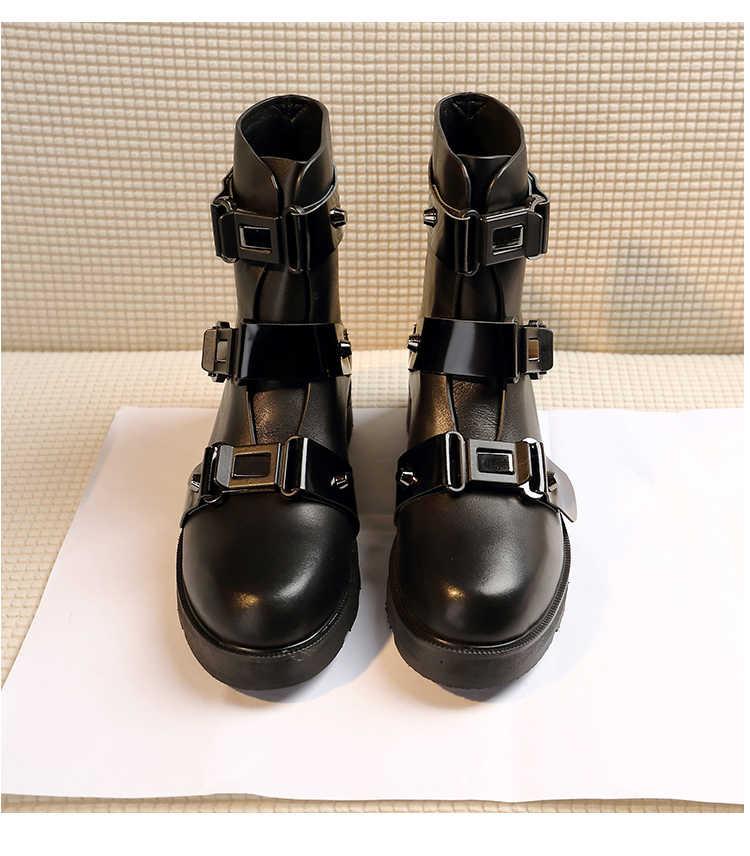 ฤดูหนาวรองเท้าสั้นหัวเข็มขัดหนัง Bota Feminina Luxury Botas Mujer รองเท้าบูทข้อเท้าหนา Botines Mujer 2020