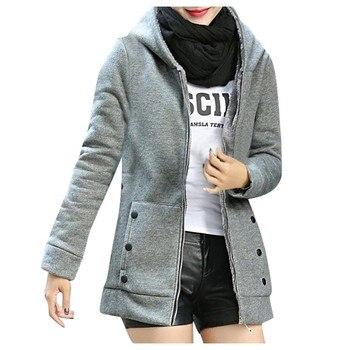 Autumn Winter Women Hooded Sweatshirts Coat Double Thickening Cotton Coat Jackets Oblique Zipper Outfit Hoodie Pocket Outwear