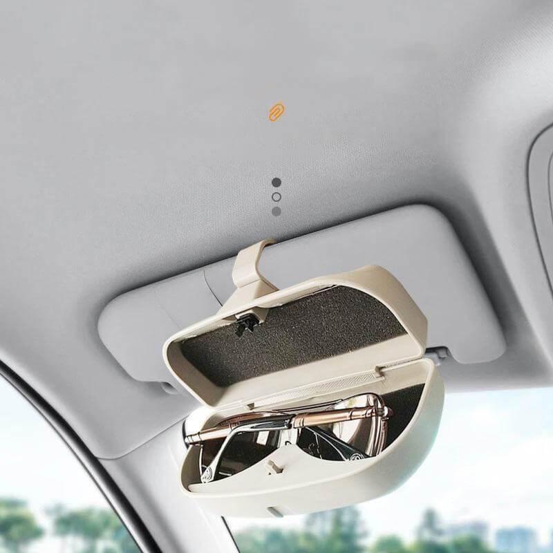ZHAOXX Car Glasses Box Case Holder Sonnenbrillen Eye Glasses Organizer Box Mit Kreditkartenf/ächern Und Magnetischem Saugbereich F/ür Auto Sonnenblende F/ür Alle Fahrzeugmodelle