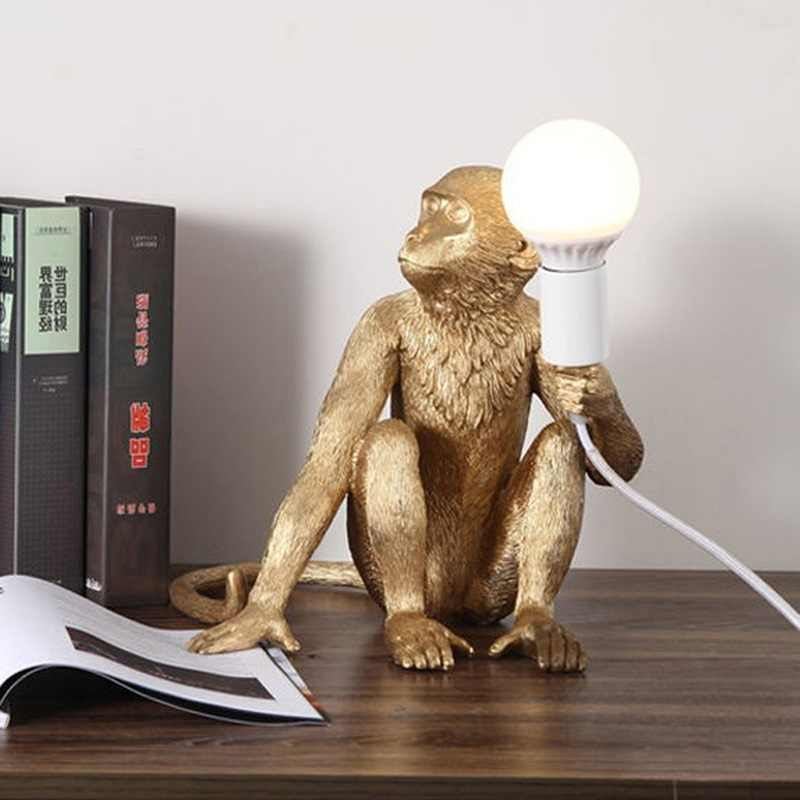 Смола Золото черная люстра с Обезьянами светильник ing Смола Лофт пеньковая веревка подвесной светильник светильники кафе в комплекте E27 светильник