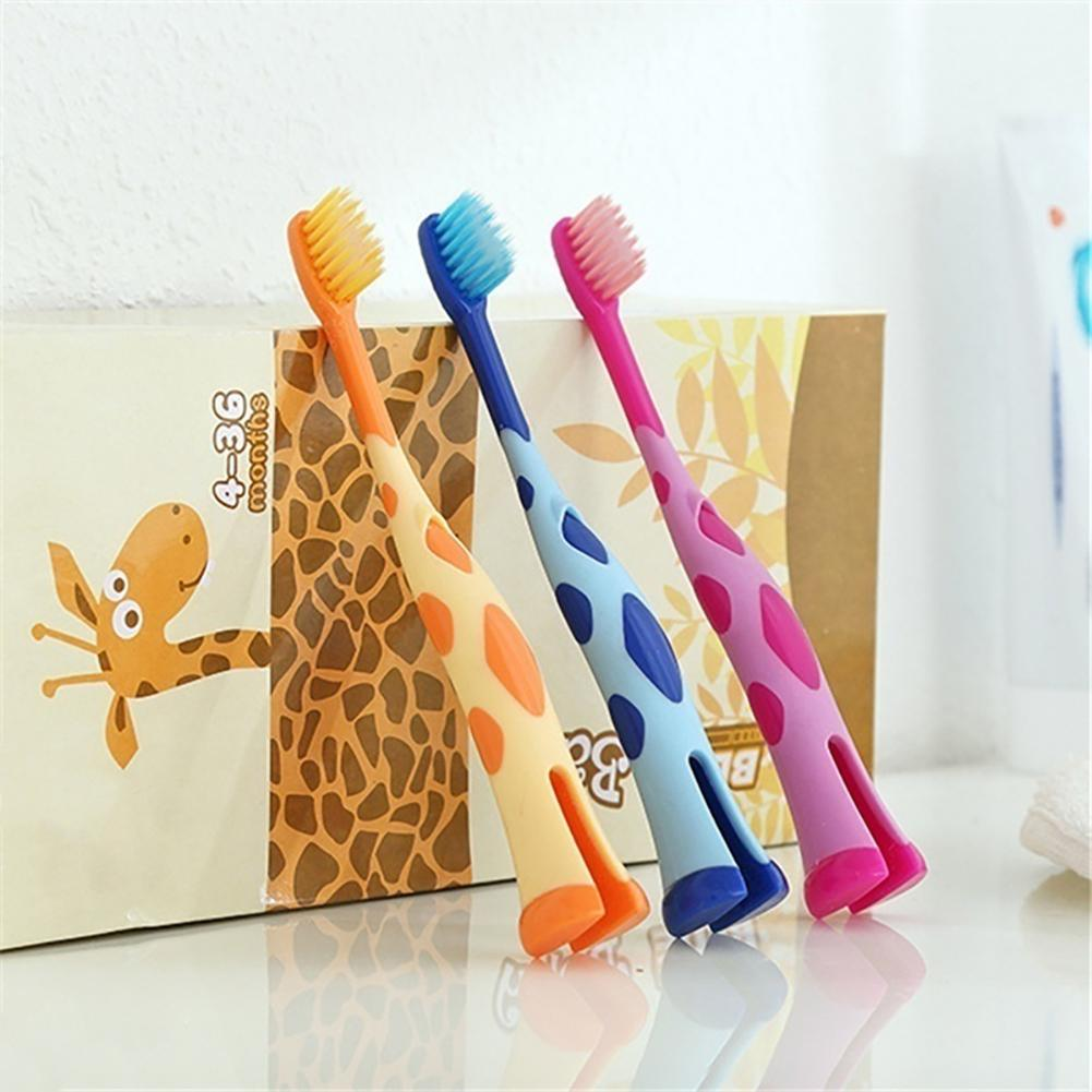 Children Toothbrush Cute Giraffe Children Training Toothbrushes Soft Stand Brush Dental Oral Care For 3-12 Years Kids Baby