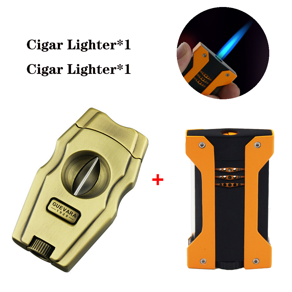 Guevara Jet Torch Cigar Lighter With Cigar Stand Cutter Windproof  Flame Butane Torch Refillable Lighters Kit