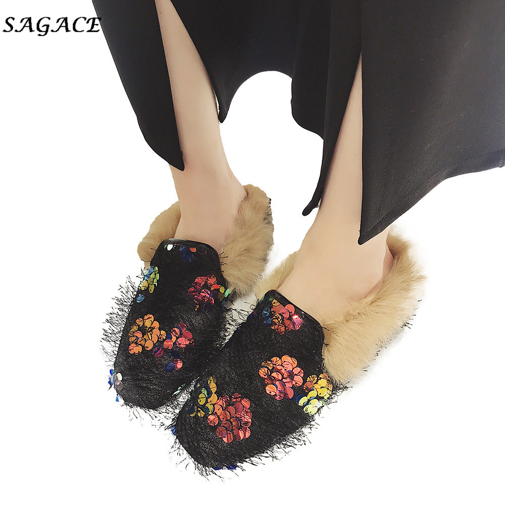 SAGACE Shoes Women Snow-Slippers Heel Sequins Girls Autumn Winter Cotton Flat Warm Flock