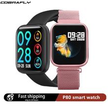 Cobrafly P80 חכם שעון מלא מגע מסך IP68 עמיד למים smartwatches גברים נשים קצב לב צג עבור xiaomi & Apple PK p68