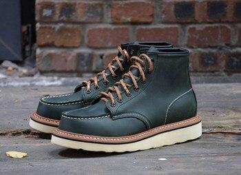 Мужские ботинки наивысшего качества из натуральной воловьей кожи; Прочные ботинки для езды; 4 цвета; Мужская обувь