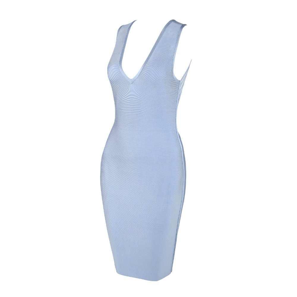 Nieuwe Mode 2020 Sexy V-hals Designer Lichtblauw Bandage Jurk Vrouwen Sexy Backless Zomer Feestjurk